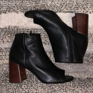 Open toed ankle booties